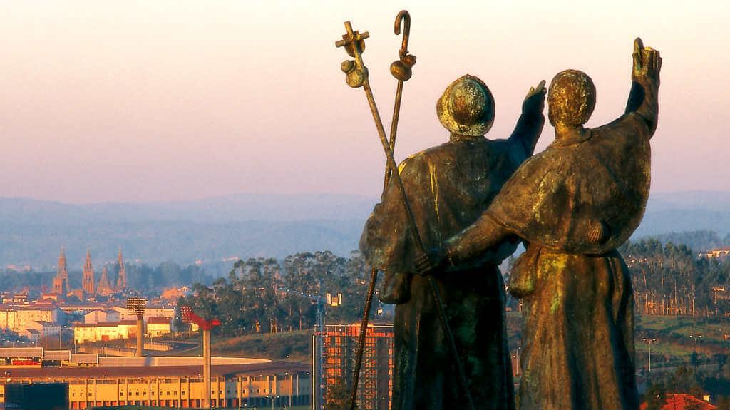 Vista de la Catedral de Santiago desde Monte do Gozo :: Albergues del Camino de Santiago