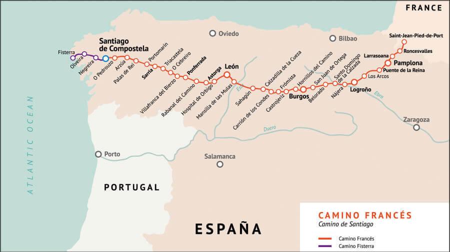 Mapa del Camino de Santiago Francés :: Albergues del Camino de santiago