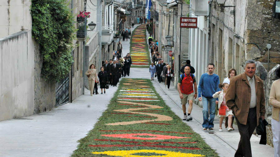 Alfombras florales el día del Corpus Christi, Sarria, Lugo, Camino Francés :: Albergues del Camino de Santiago
