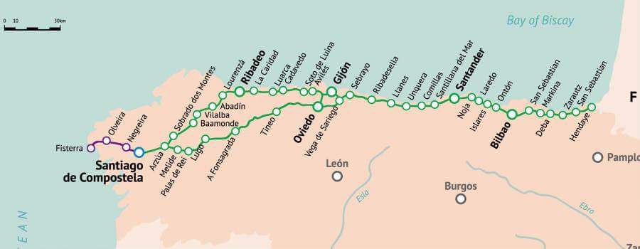 Mapa del Camino del Norte, Camino Primitivo y extensión Fisterra-Muxía :: Guía del Camino de Santiago