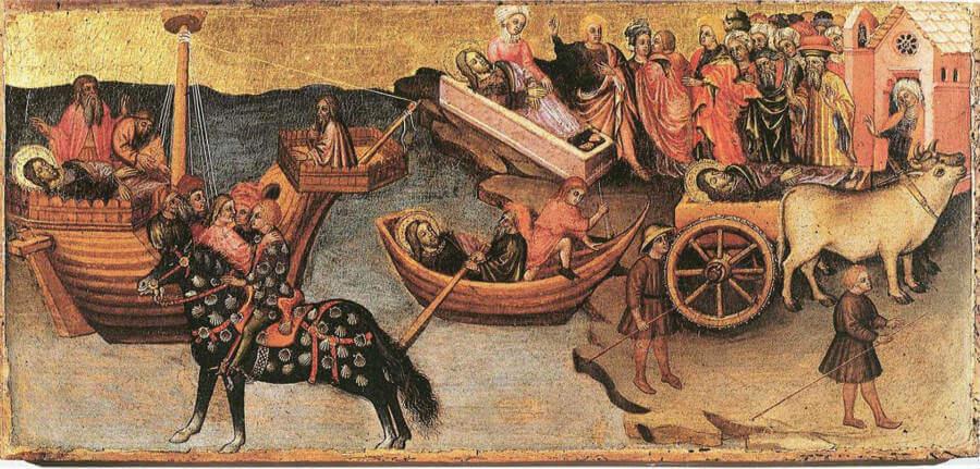 """Tabla del siglo XV que representa la """"translatio"""" del apóstol Santiago - Museo Diocesano de Camerino, Italia."""