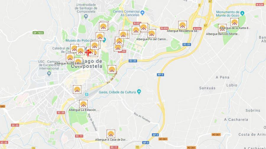 Albergues de peregrinos en Santiago de Compostela