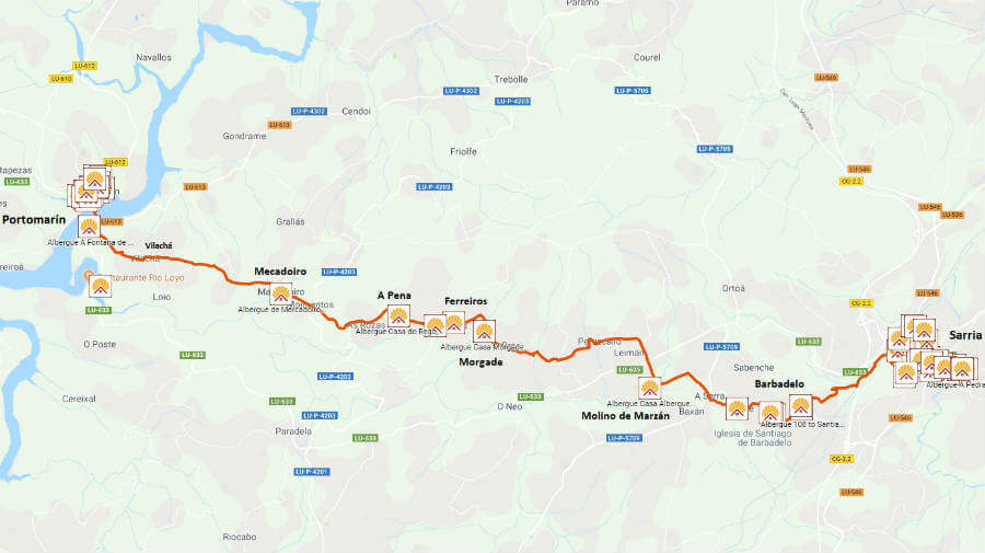 Mapa de la etapa Sarria - Portomarín :: Guía del Camino de Santiago desde Sarria