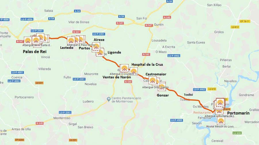 Mapa de la etapa de Portomarín a Palas de Rei :: Guía del Camino de Santiago desde Sarria