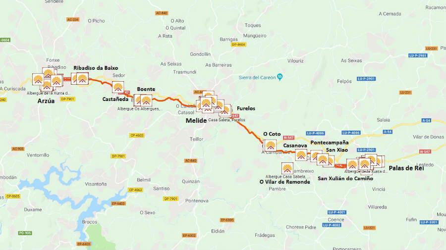 Mapa de la etapa de Palas de Rei a Arzúa :: Guía del Camino de Santiago desde Sarria