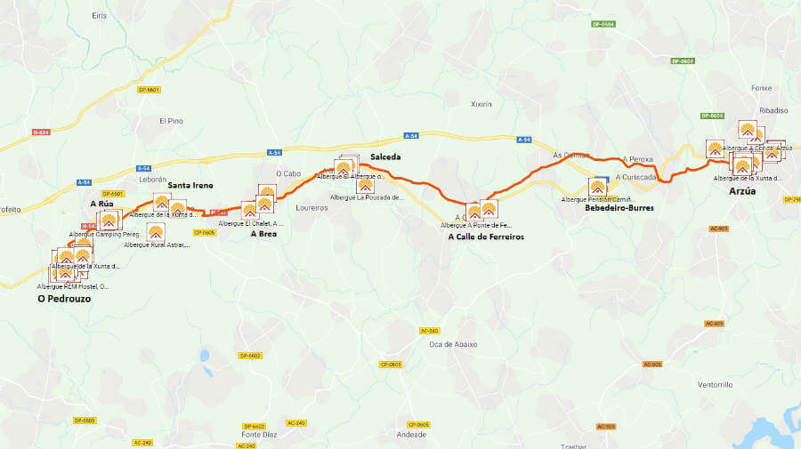 Mapa de la etapa de Arzúa a O Pedrouzo :: Guía del Camino de Santiago desde Sarria