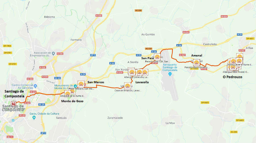 Mapa y alojamientos de la etapa de O Pedrouzo a Santiago de Compostela :: Guía del Camino de Santiago desde Sarria