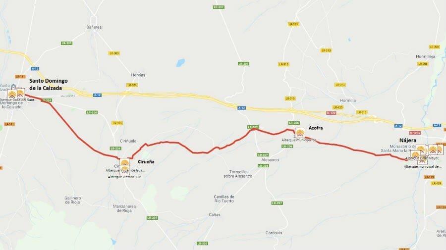 Mapa de la etapa de Nájera a Santo Domingo de la Calzada - Camino Francés :: Guía del Camino de Santiago