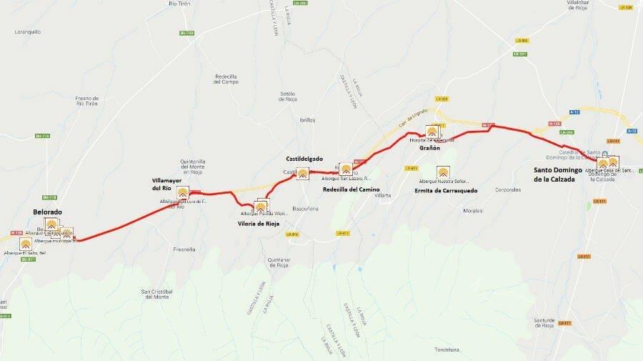 Mapa de la etapa de Santo Domingo de la Calzada a Belorado - Camino Francés :: Guía del Camino de Santiago
