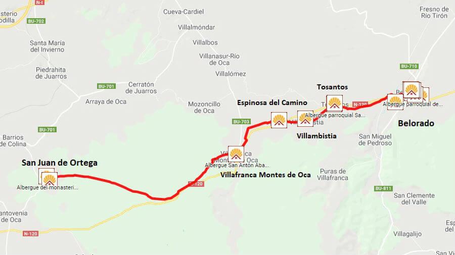 Mapa de la etapa de Belorado a San Juan de Ortega - Camino Francés :: Guía del Camino de Santiago