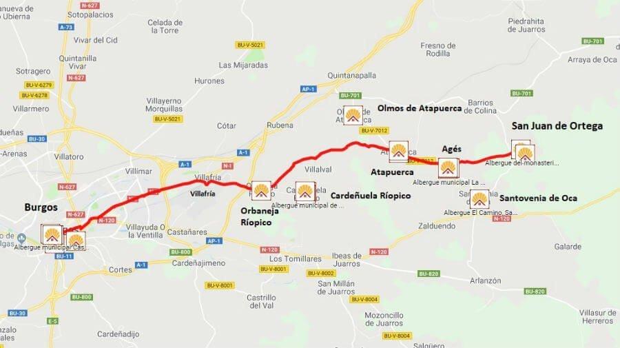 Mapa de la etapa de San Juan de Ortega a Burgos - Camino Francés :: Guía del Camino de Santiago