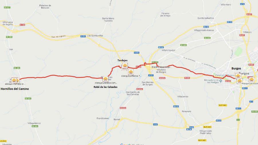 Mapa de la etapa de Burgos a Hornillos del Camino - Camino Francés :: Guía del Camino de Santiago