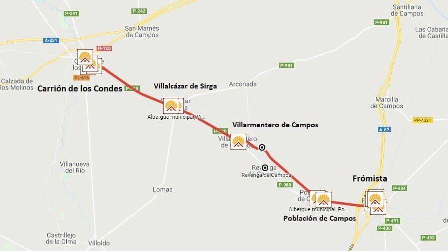 Mapa de la etapa de Frómista a Carrión de los Condes - Camino Francés :: Guía del Camino de Santiago