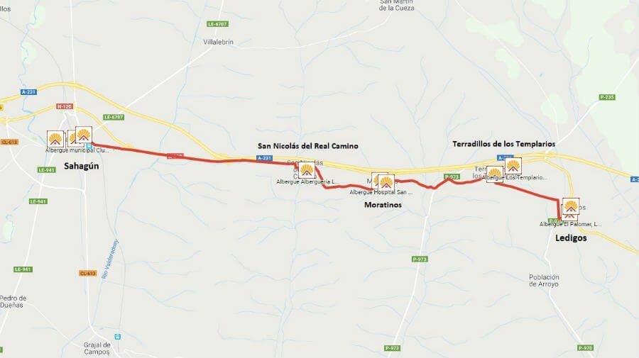 Mapa de la etapa de Ledigos a Sahagún - Camino Francés :: Guía del Camino de Santiago