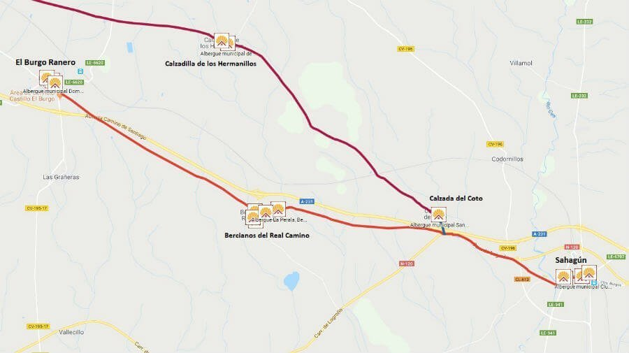 Mapa de la etapa de Sahagún a El Burgo Ranero - Camino Francés :: Guía del Camino de Santiago