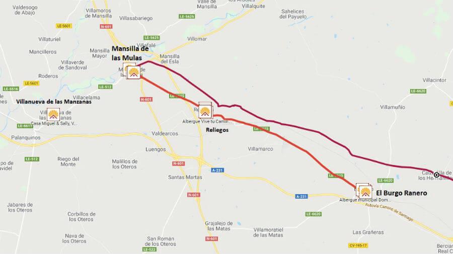 Mapa de la etapa de El Burgo Ranero a Mansilla de las Mulas - Camino Francés :: Guía del Camino de Santiago
