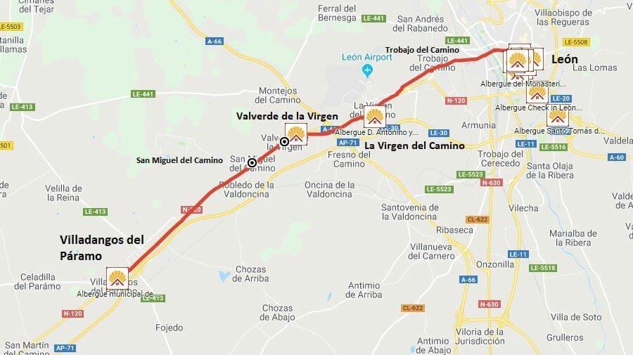 Mapa de la etapa de León a Villadangos del Páramo - Camino Francés :: Guía del Camino de Santiago