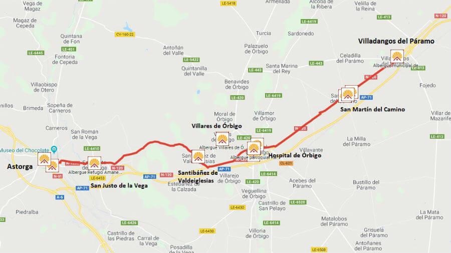 Mapa de la etapa de Villadangos del Páramo a Astorga - Camino Francés :: Guía del Camino de Santiago