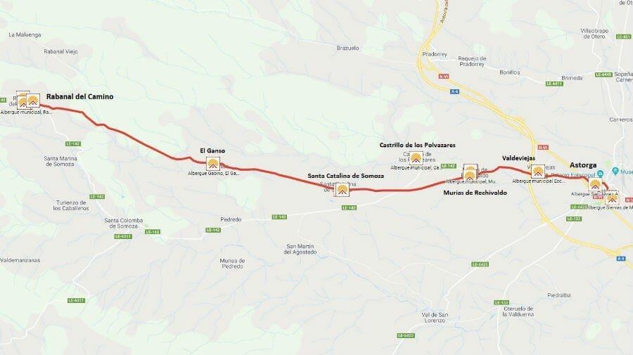 Mapa de la etapa de Astorga a Rabanal del Camino - Camino Francés :: Guía del Camino de Santiago