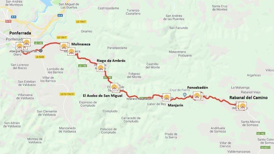 Mapa de la etapa de Rabanal del Camino a Ponferrada - Camino Francés :: Guía del Camino de Santiago