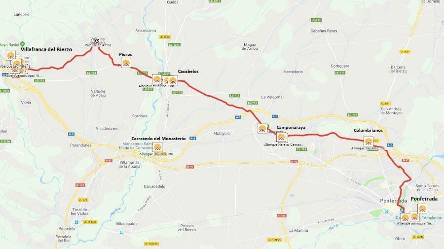 Mapa de la etapa de Ponferrada a Villafranca del Bierzo - Camino Francés :: Guía del Camino de Santiago