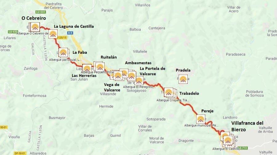 Mapa de la etapa de Villafranca del Bierzo a O Cebreiro - Camino Francés :: Guía del Camino de Santiago