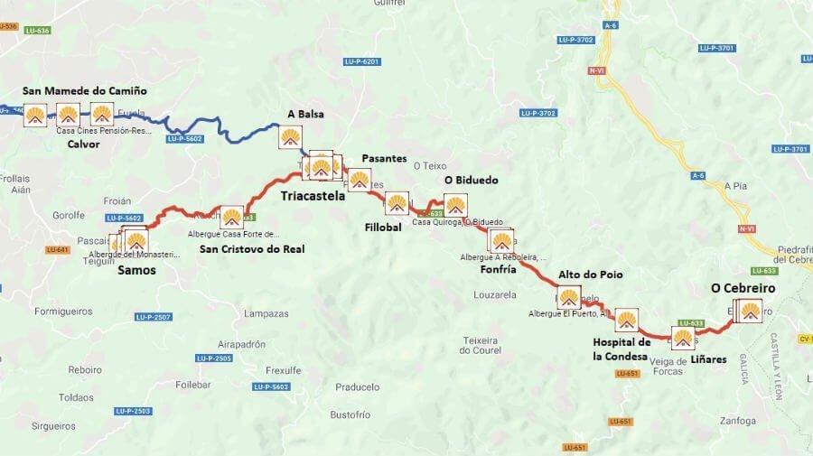 Mapa de la etapa de O Cebreiro - Triacastela - Samos - Camino Francés :: Guía del Camino de Santiago