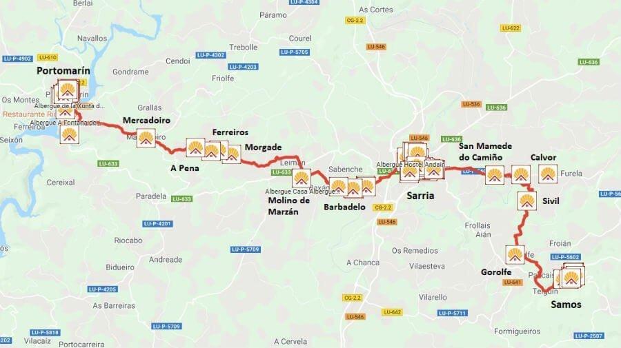 Mapa de la etapa Samos - Sarria - Portomarín - Camino Francés :: Guía del Camino de Santiago