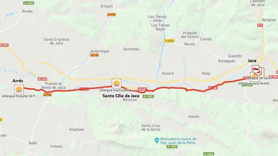 Mapa de la etapa de Jaca a Arrés - Camino Aragonés :: Guía del Camino de Santiago