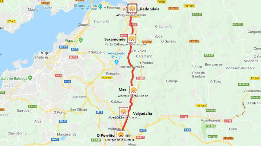 Mapa de la etapa de O Porriño a Redondela - Camino Portugués :: Guía del Camino de Santiago