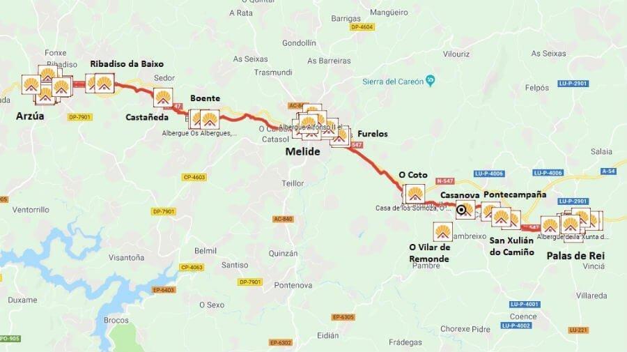 Camino De Santiago Mapa Etapas.Camino De Santiago Frances Etapa De Palas De Rei A Arzua