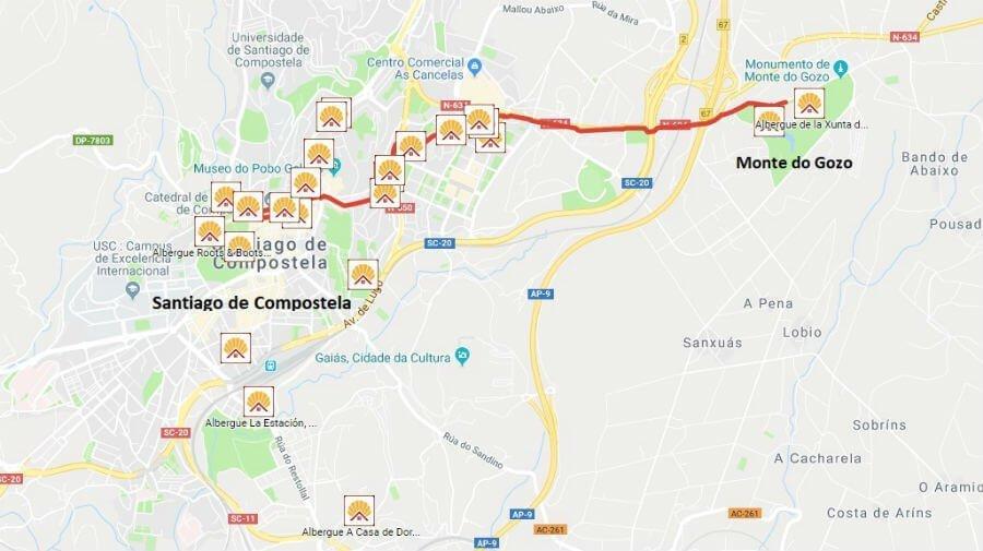 Mapa de la etapa de Monte do Gozo a Santiago de Compostela - Camino Francés :: Guía del Camino de Santiago