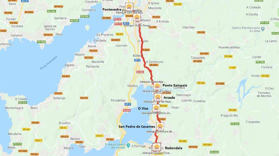 Mapa de la etapa de Redondela a Pontevedra - Camino Portugués :: Guía del Camino de Santiago