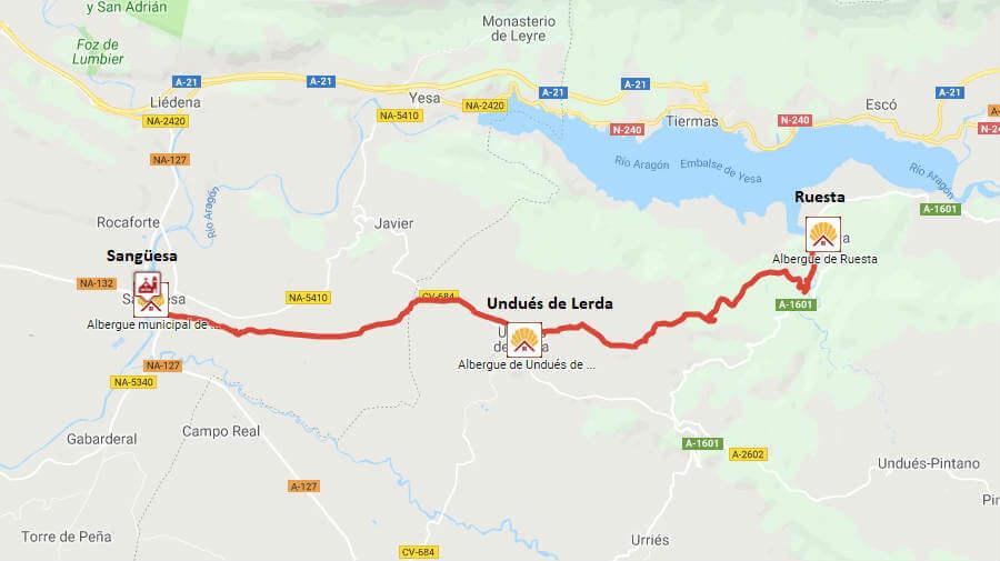 Mapa de la etapa de Ruesta a Sangüesa - Camino Aragonés :: Guía del Camino de Santiago