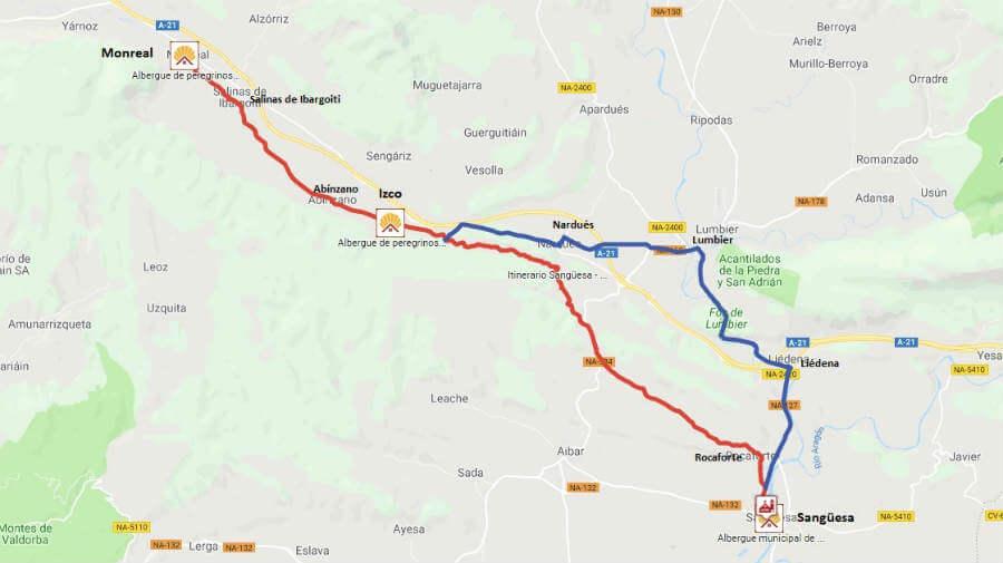 Mapa de la etapa de Sangüesa a Monreal - Camino Aragonés :: Guía del Camino de Santiago