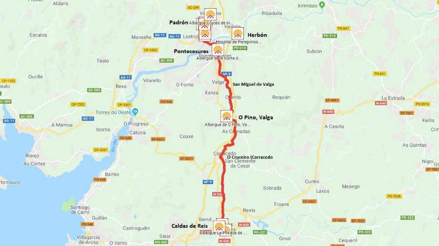 Mapa de la etapa de Caldas de Reis a Padrón - Camino Portugués :: Guía del Camino de Santiago