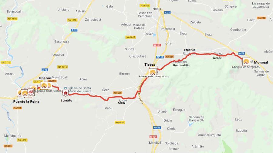 Mapa de la etapa de Monreal a Puente la Reina - Camino Aragonés :: Guía del Camino de Santiago