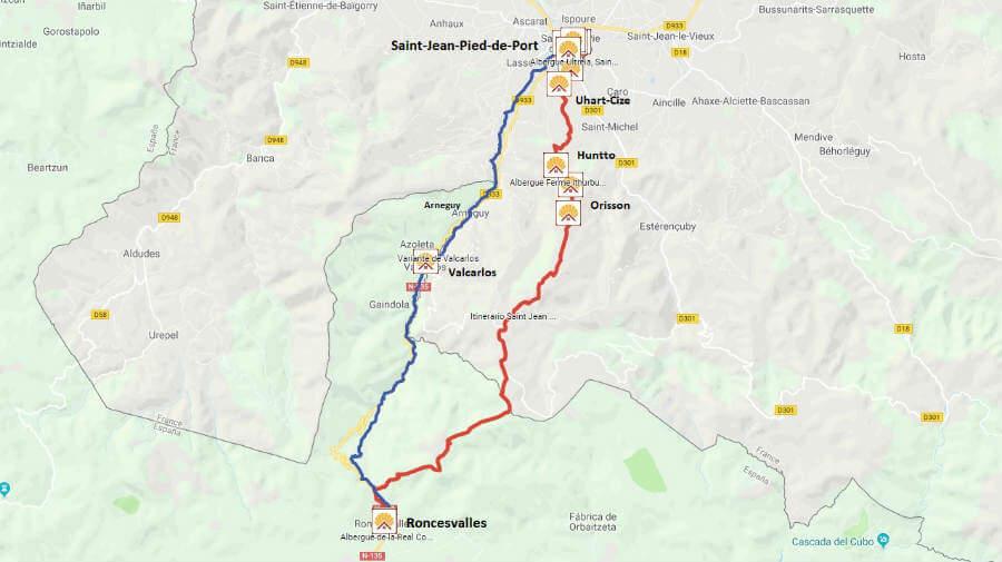 Mapa de la etapa de Saint-Jean-Pied-de-Port a Roncesvalles - Camino Francés :: Guía del Camino de Santiago