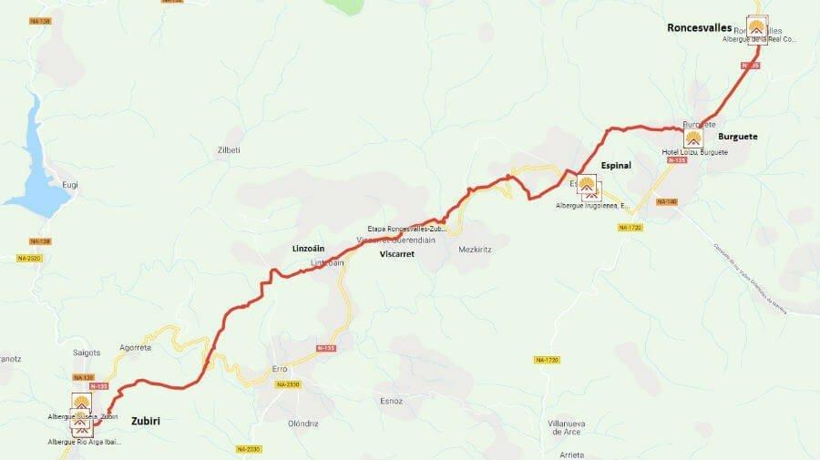 Mapa de la etapa de Roncesvalles a Zubiri - Camino Francés :: Guía del Camino de Santiago