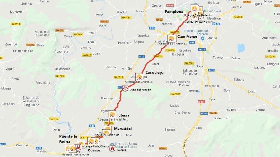 Mapa de la etapa de Pamplona a Puente la Reina - Camino Francés :: Guía del Camino de Santiago