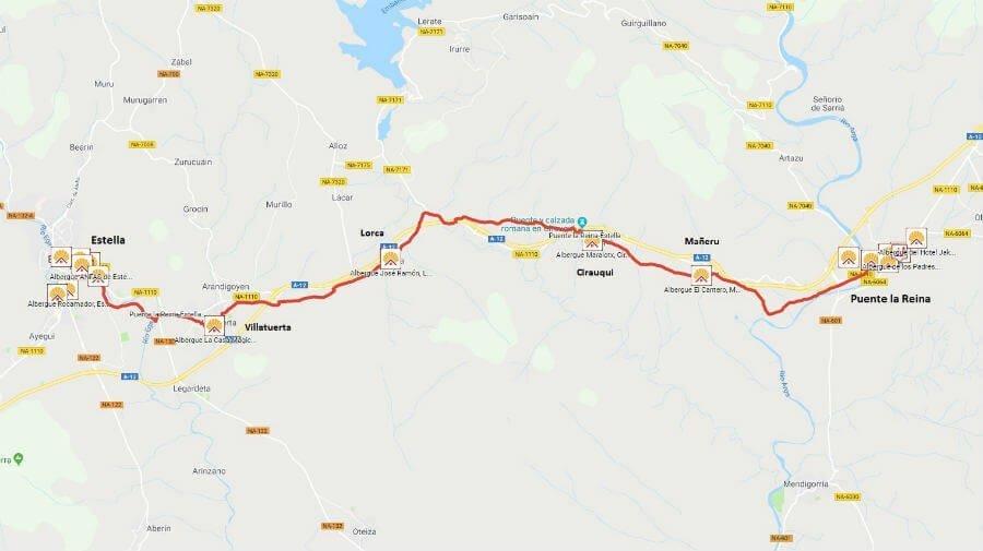 Mapa de la etapa de Puente la Reina a Estella - Camino Francés :: Guía del Camino de Santiago