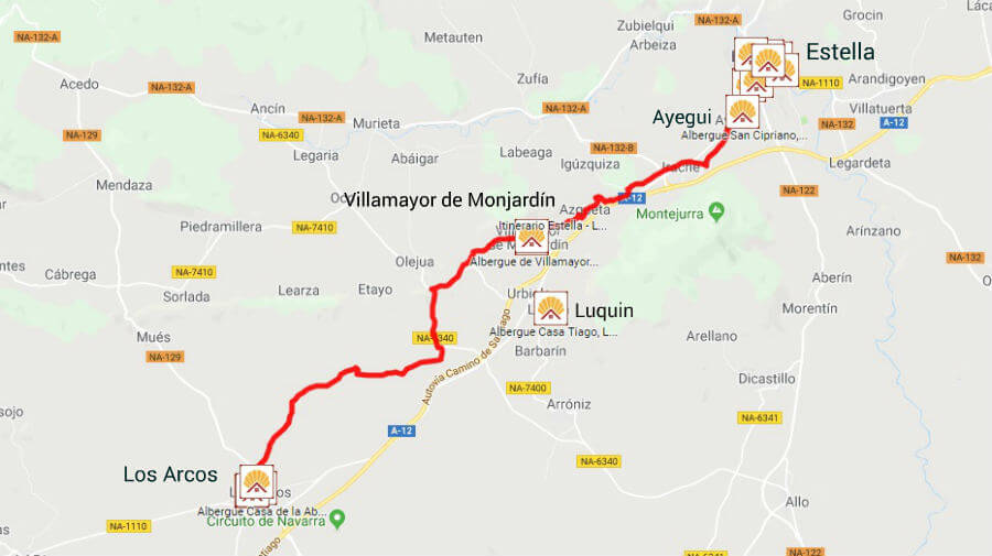 Mapa de la etapa de Estella a Los Arcos - Camino Francés :: Guía del Camino de Santiago