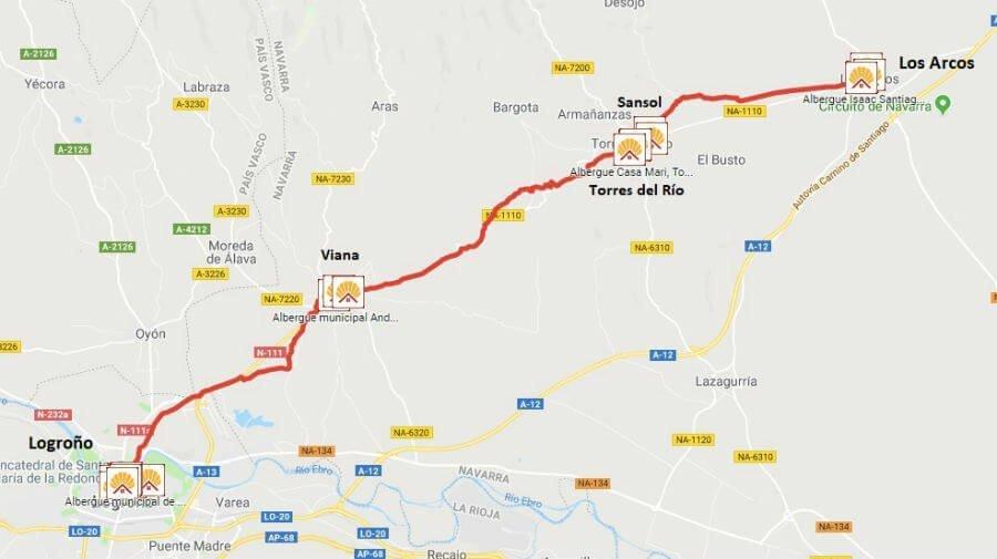 Mapa de la etapa de Los Arcos a Logroño - Camino Francés :: Guía del Camino de Santiago