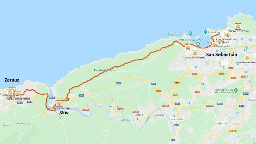 Mapa de la etapa de San Sebastián a Zarauz - Camino del Norte :: Albergues del Camino de Santiago