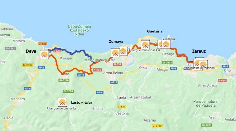 Mapa de la etapa de Zarauz a Deva - Camino del Norte :: Albergues del Camino de Santiago