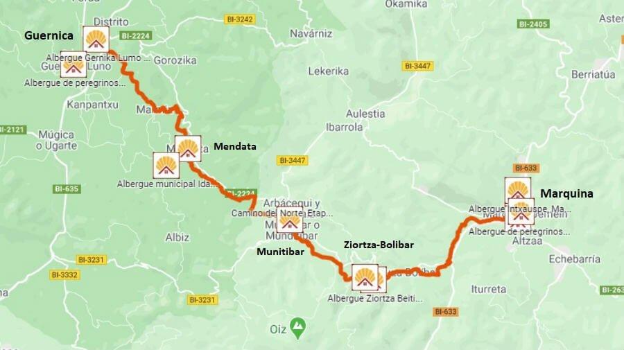 Mapa de la etapa de Marquina a Guernica - Camino del Norte :: Albergues del Camino de Santiago