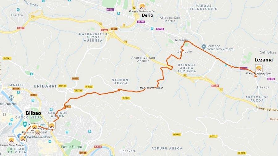 Mapa de la etapa de Lezama a Bilbao - Camino del Norte :: Albergues del Camino de Santiago