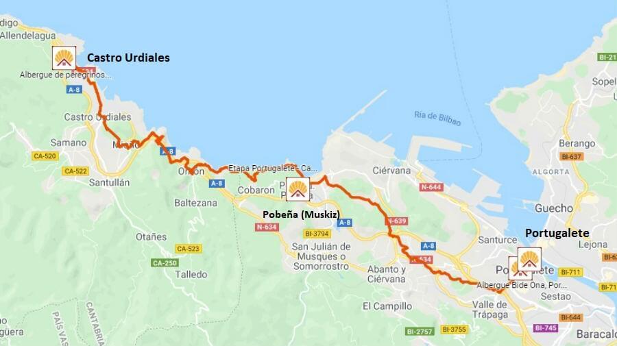 Mapa de la etapa de Portugalete a Castro Urdiales - Camino del Norte :: Albergues del Camino de Santiago