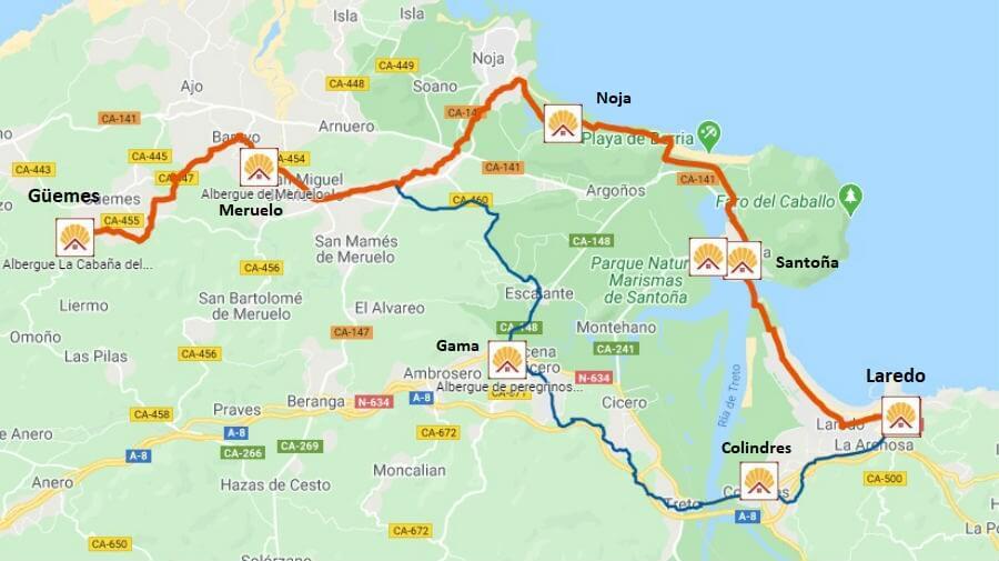 Mapa de la etapa de Laredo a Güemes - Camino del Norte :: Albergues del Camino de Santiago