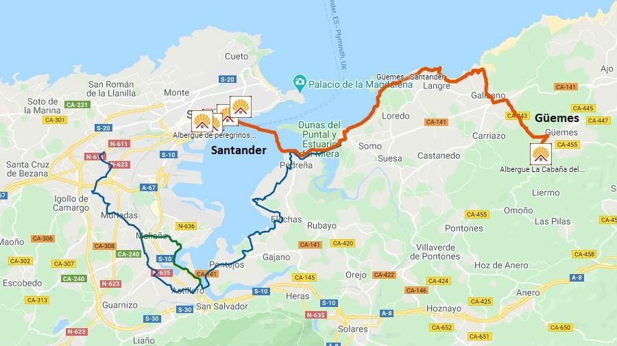 Mapa de la etapa de Güemes a Santander - Camino del Norte :: Albergues del Camino de Santiago